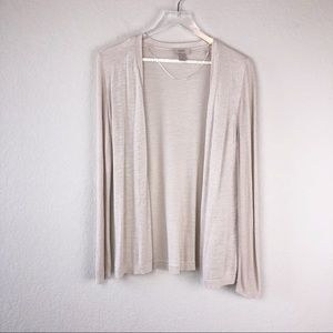 Loft cream fine-knit open cardigan sweater